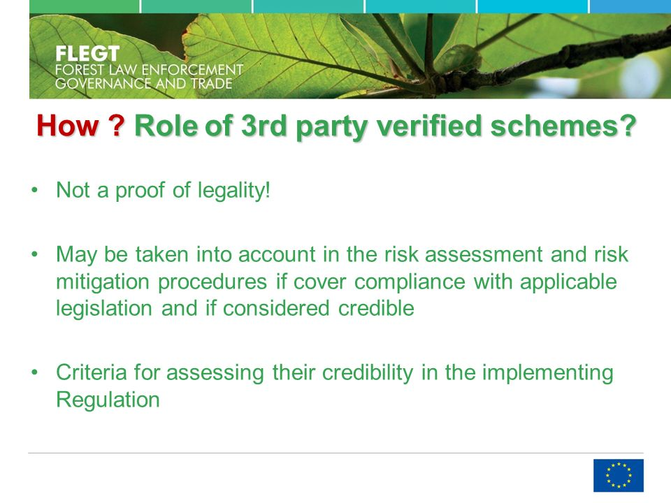How . Roleof 3rd party verified schemes. How . Role of 3rd party verified schemes.