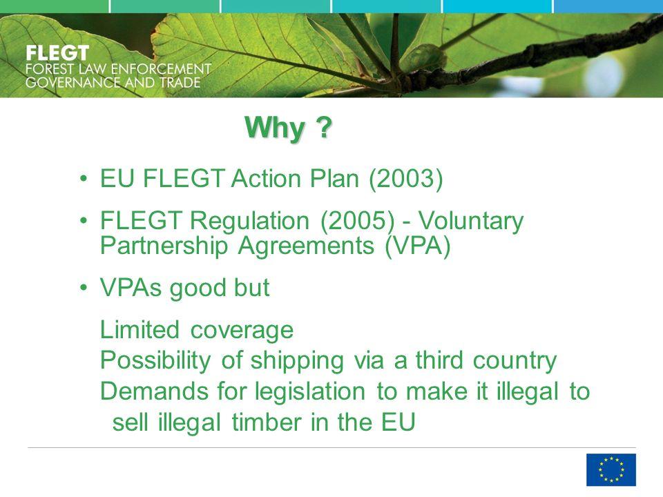Why ? EU FLEGT Action Plan (2003) FLEGT Regulation (2005) - Voluntary Partnership Agreements (VPA) VPAs good but Limited coverage Possibility of shipp