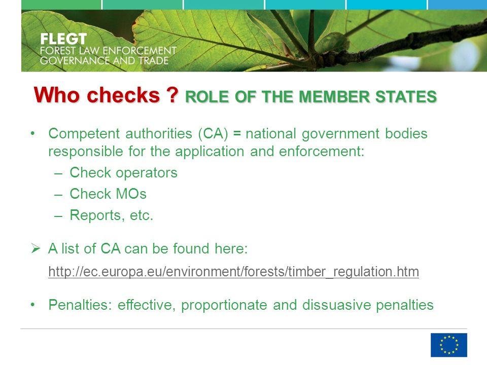 Who checks . ROLEOF THE MEMBER STATES Who checks .
