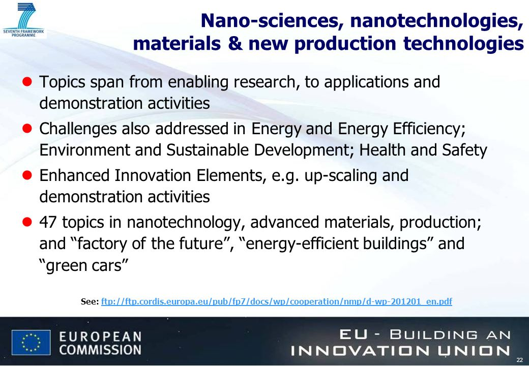 22 Nano-sciences, nanotechnologies, materials & new production technologies lTopics span from enabling research, to applications and demonstration act