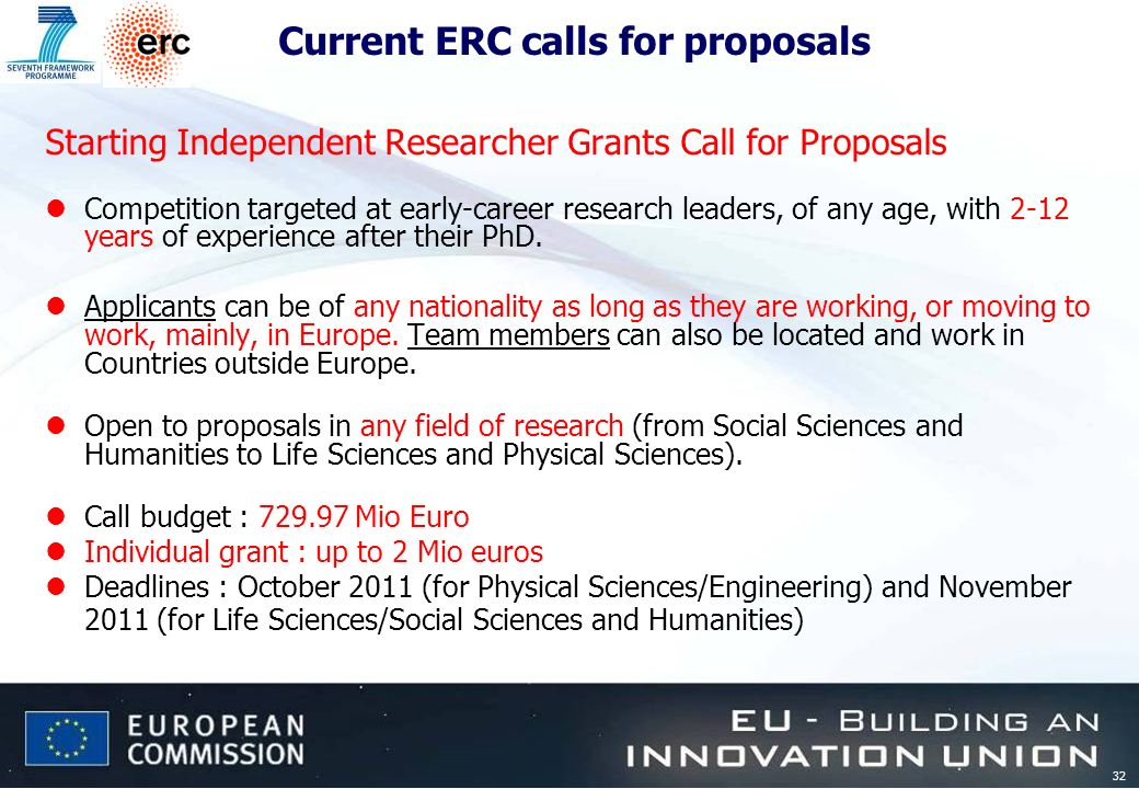 32 Current ERC calls for proposals Starting Independent Researcher Grants Call for Proposals lCompetition targeted at early-career research leaders, of any age, with 2-12 years of experience after their PhD.