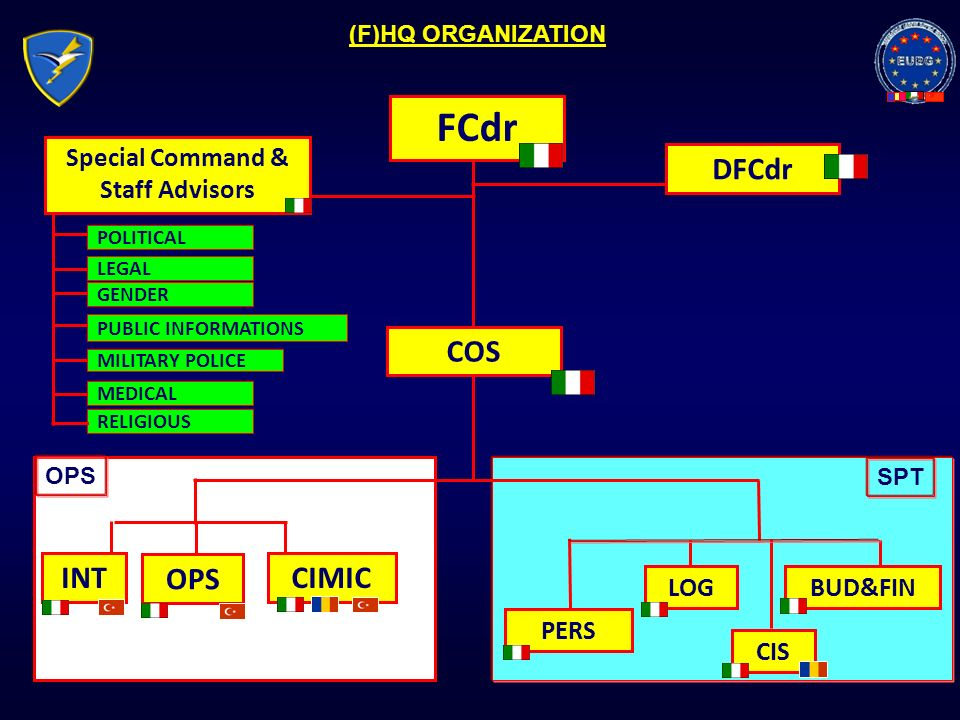 FCdr DFCdr COS INT OPS CIMIC PERS LOG CIS BUD&FIN MEDICAL GENDER PUBLIC INFORMATIONS MILITARY POLICE Special Command & Staff Advisors (F)HQ ORGANIZATI