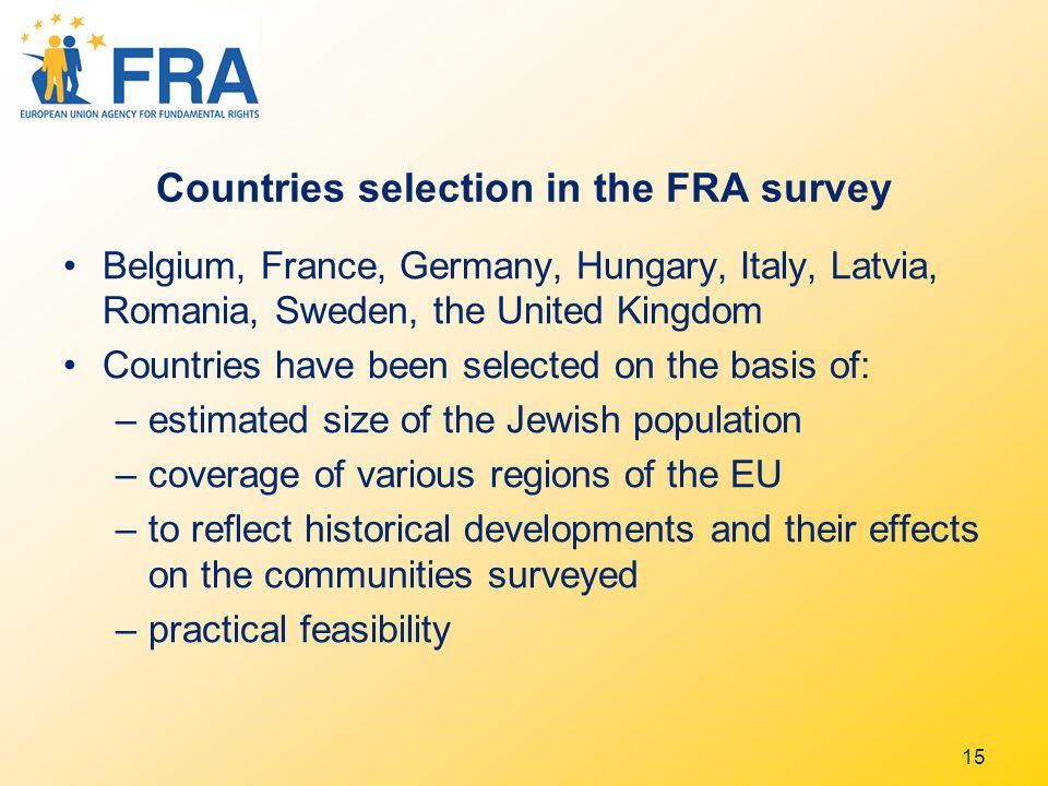 Countries selection in the FRA survey Belgium, France, Germany, Hungary, Italy, Latvia, Romania, Sweden, the United Kingdom Countries have been selected on the basis of: –estimated size of the Jewish population –coverage of various regions of the EU –to reflect historical developments and their effects on the communities surveyed –practical feasibility 15