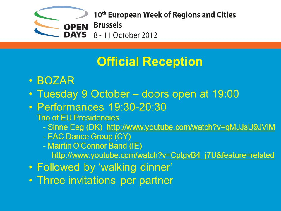 BOZAR Tuesday 9 October – doors open at 19:00 Performances 19:30-20:30 Trio of EU Presidencies - Sinne Eeg (DK) http://www.youtube.com/watch?v=qMJJsU9