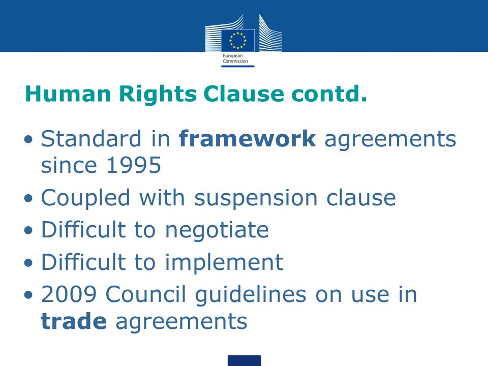 Human Rights Clause contd.