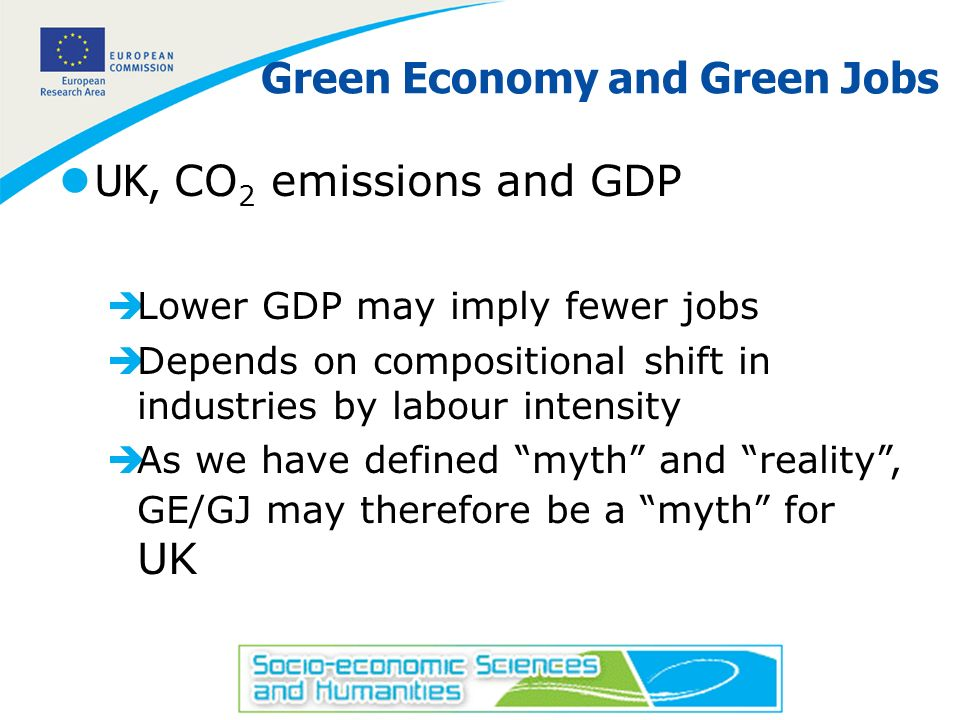 22 Green Economy and Green Jobs UK, CO 2 emissions and GDP èLower GDP may imply fewer jobs èDepends on compositional shift in industries by labour int