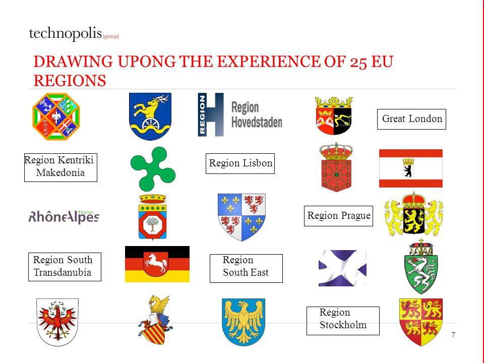 DRAWING UPONG THE EXPERIENCE OF 25 EU REGIONS 7 Great London Region Lisbon Region Kentriki Makedonia Region Prague Region South East Region South Transdanubia Region Stockholm