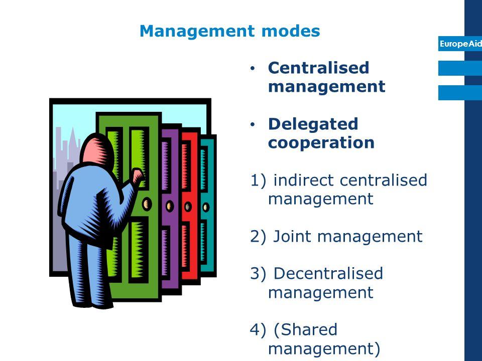EuropeAid Management modes Centralised management Delegated cooperation 1) indirect centralised management 2) Joint management 3) Decentralised manage