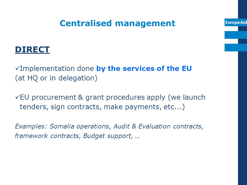 EuropeAid Delegated cooperation : centralised indirect There is a delegation of implementation tasks by the Commission Implementation done (1) by bodies set up by the Communities or other specialsed Community bodies such as EIB or EIF, (2) national or international public sector bodies or bodies governed by private law with public service mission providing adequate financial guarantees and complying for with provisions IR Procedures of the delegated body can apply or EU procedures