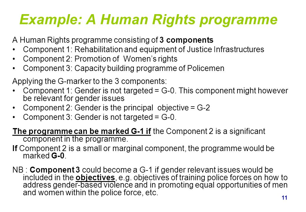 11 Example: A Human Rights programme A Human Rights programme consisting of 3 components Component 1: Rehabilitation and equipment of Justice Infrastr