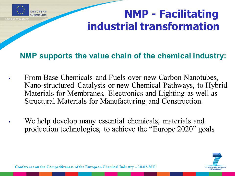 Conference on the Competitiveness of the European Chemical Industry – 10-02-2011 NMP supports the value chain of the chemical industry: From Base Chem