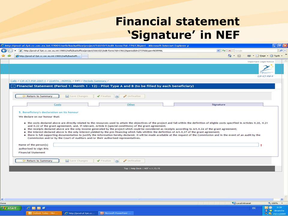 20 Financial statement Signature in NEF