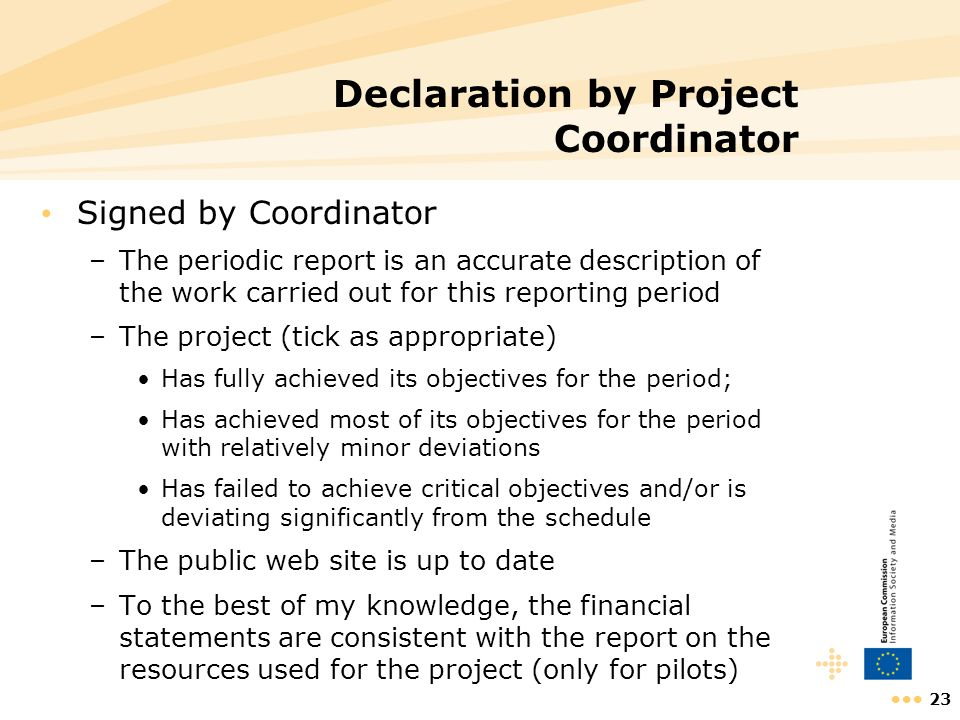 23 Declaration by Project Coordinator Signed by Coordinator –The periodic report is an accurate description of the work carried out for this reporting