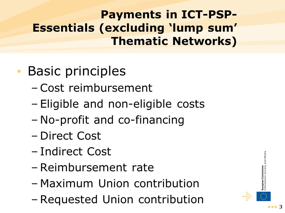 14 Cost reporting @participant level Financial statement (see guide to financial issues) for each reporting period –Costs Direct costs Indirect costs –Receipts –Interest –Certificate on the Financial Statement –Beneficiarys declaration on its honour The individual financial statement is also to be used for adjustments to previous periods
