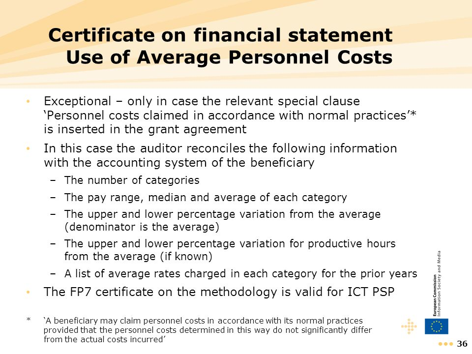 36 Certificate on financial statement Use of Average Personnel Costs Exceptional – only in case the relevant special clause Personnel costs claimed in