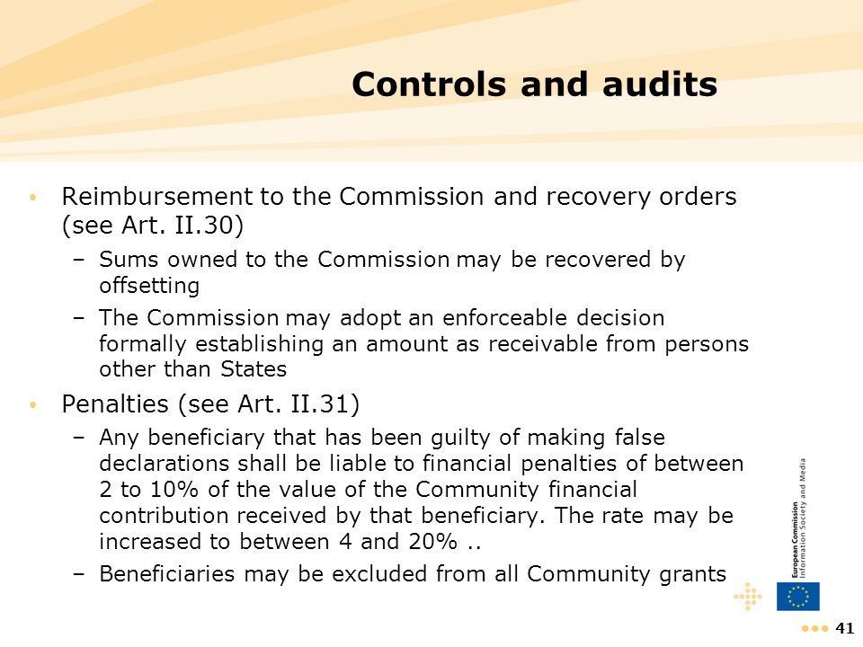 41 Controls and audits Reimbursement to the Commission and recovery orders (see Art. II.30) –Sums owned to the Commission may be recovered by offsetti