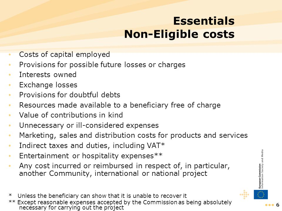 6 Essentials Non-Eligible costs Costs of capital employed Provisions for possible future losses or charges Interests owned Exchange losses Provisions