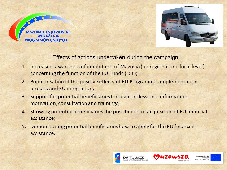 1.Increased awareness of inhabitants of Mazovia (on regional and local level) concerning the function of the EU Funds (ESF); 2.Popularisation of the p