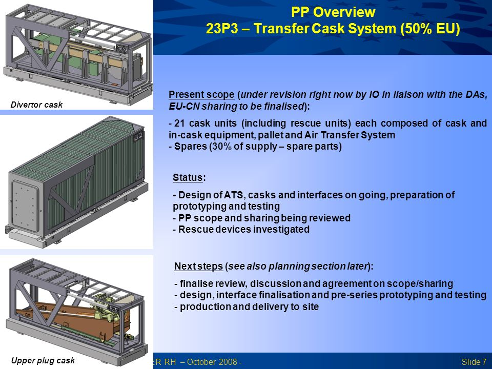 CODAC meeting - EU contribution to ITER RH – October 2008 -Slide 7 PP Overview 23P3 – Transfer Cask System (50% EU) Present scope (under revision right now by IO in liaison with the DAs, EU-CN sharing to be finalised): - 21 cask units (including rescue units) each composed of cask and in-cask equipment, pallet and Air Transfer System - Spares (30% of supply – spare parts) Next steps (see also planning section later): - finalise review, discussion and agreement on scope/sharing - design, interface finalisation and pre-series prototyping and testing - production and delivery to site Divertor cask Upper plug cask Status: - Design of ATS, casks and interfaces on going, preparation of prototyping and testing - PP scope and sharing being reviewed - Rescue devices investigated