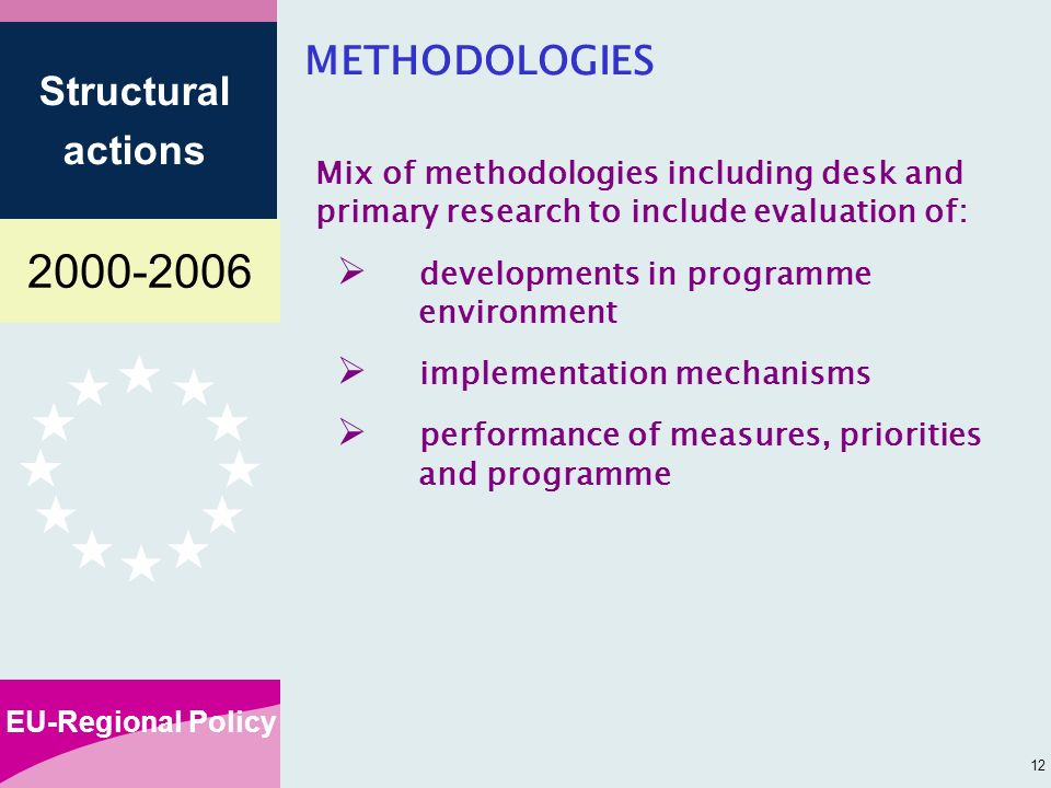 EU-Regional Policy Structural actions 12 METHODOLOGIES Mix of methodologies including desk and primary research to include evaluation of: developments in programme environment implementation mechanisms performance of measures, priorities and programme