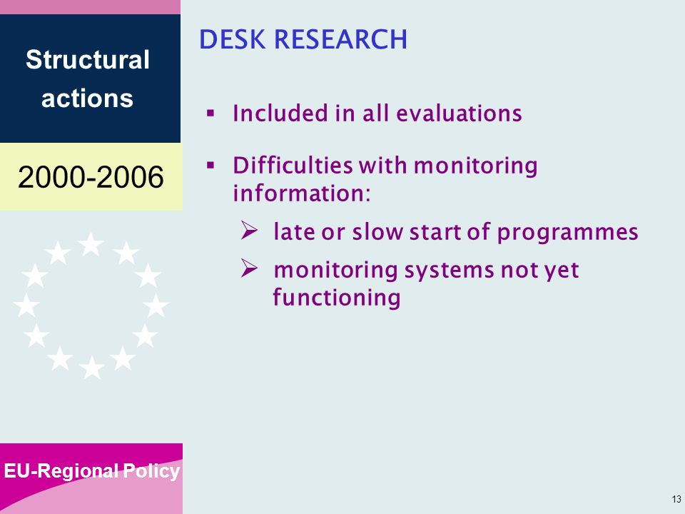 EU-Regional Policy Structural actions 13 DESK RESEARCH Included in all evaluations Difficulties with monitoring information: late or slow start of programmes monitoring systems not yet functioning