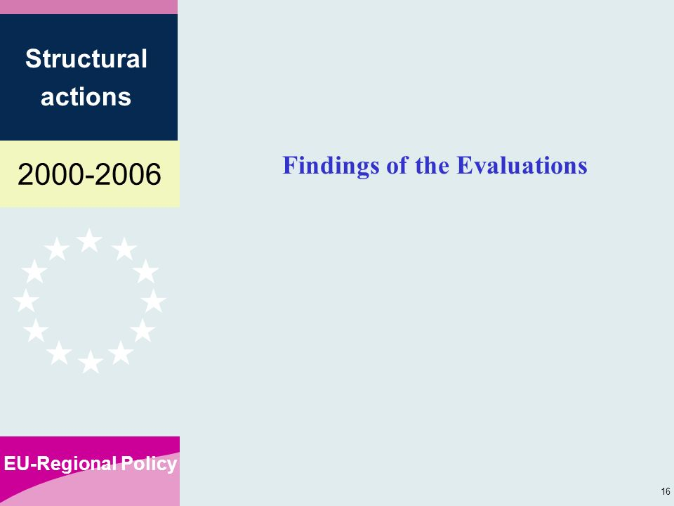 EU-Regional Policy Structural actions 16 Findings of the Evaluations