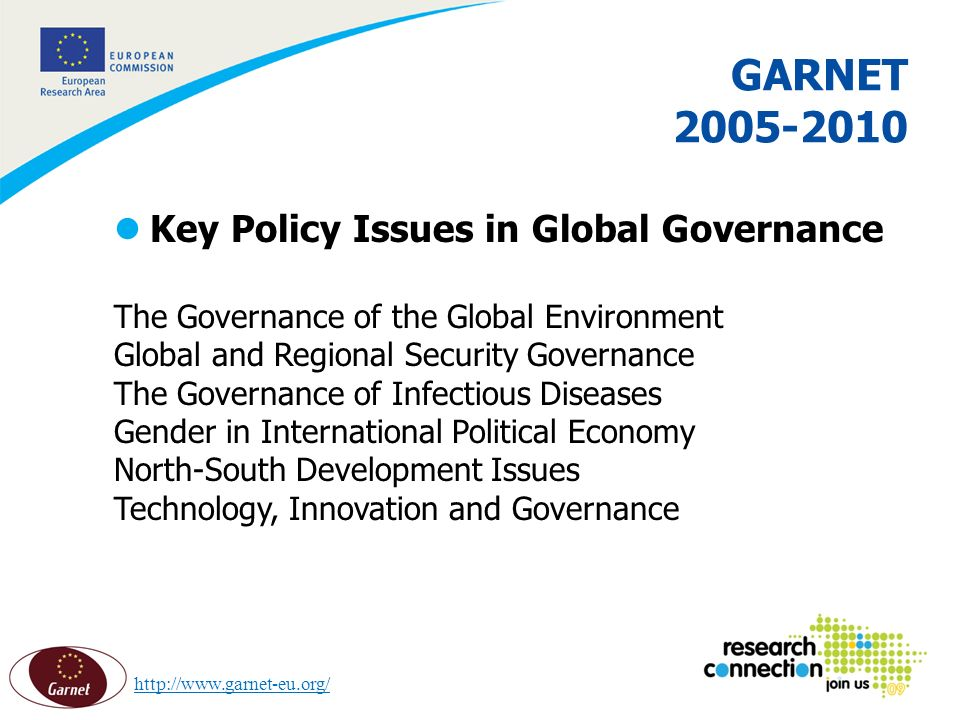 11 16/02/2014 GARNET 2005-2010 lKey Policy Issues in Global Governance The Governance of the Global Environment Global and Regional Security Governance The Governance of Infectious Diseases Gender in International Political Economy North-South Development Issues Technology, Innovation and Governance http://www.garnet-eu.org/