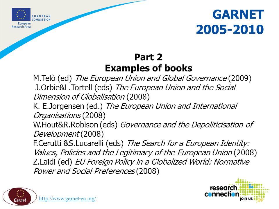 13 16/02/2014 GARNET 2005-2010 Part 2 Examples of books M.Telò (ed) The European Union and Global Governance (2009) J.Orbie&L.Tortell (eds) The European Union and the Social Dimension of Globalisation (2008) K.