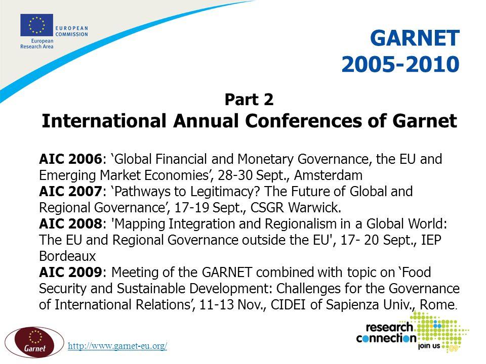 14 16/02/2014 GARNET 2005-2010 Part 2 International Annual Conferences of Garnet AIC 2006: Global Financial and Monetary Governance, the EU and Emerging Market Economies, 28-30 Sept., Amsterdam AIC 2007: Pathways to Legitimacy.