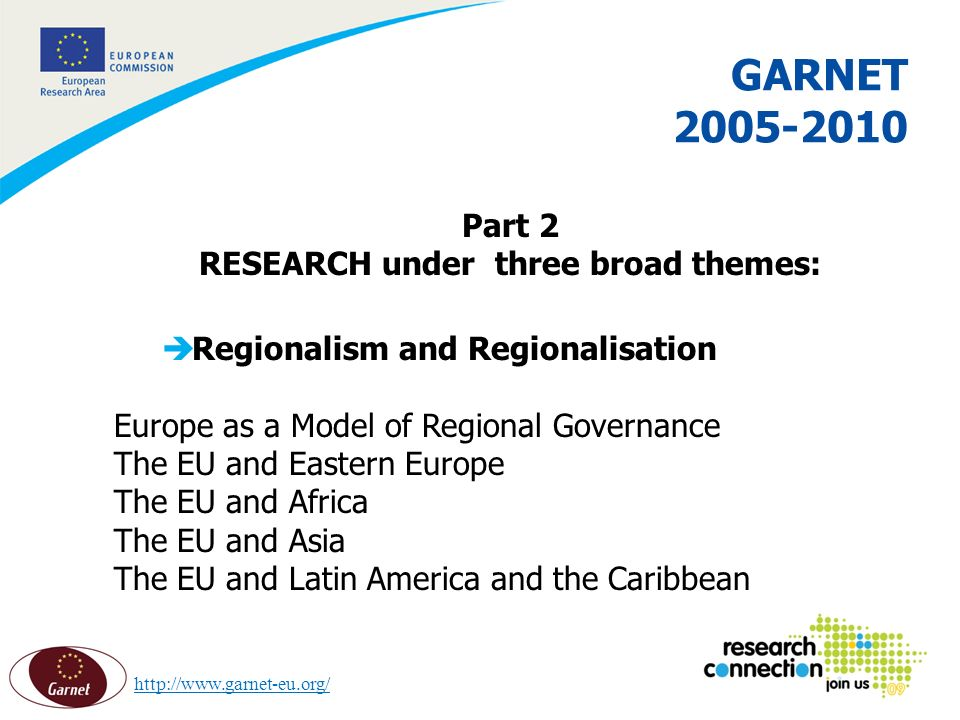 9 16/02/2014 GARNET 2005-2010 Part 2 RESEARCH under three broad themes: èRegionalism and Regionalisation Europe as a Model of Regional Governance The