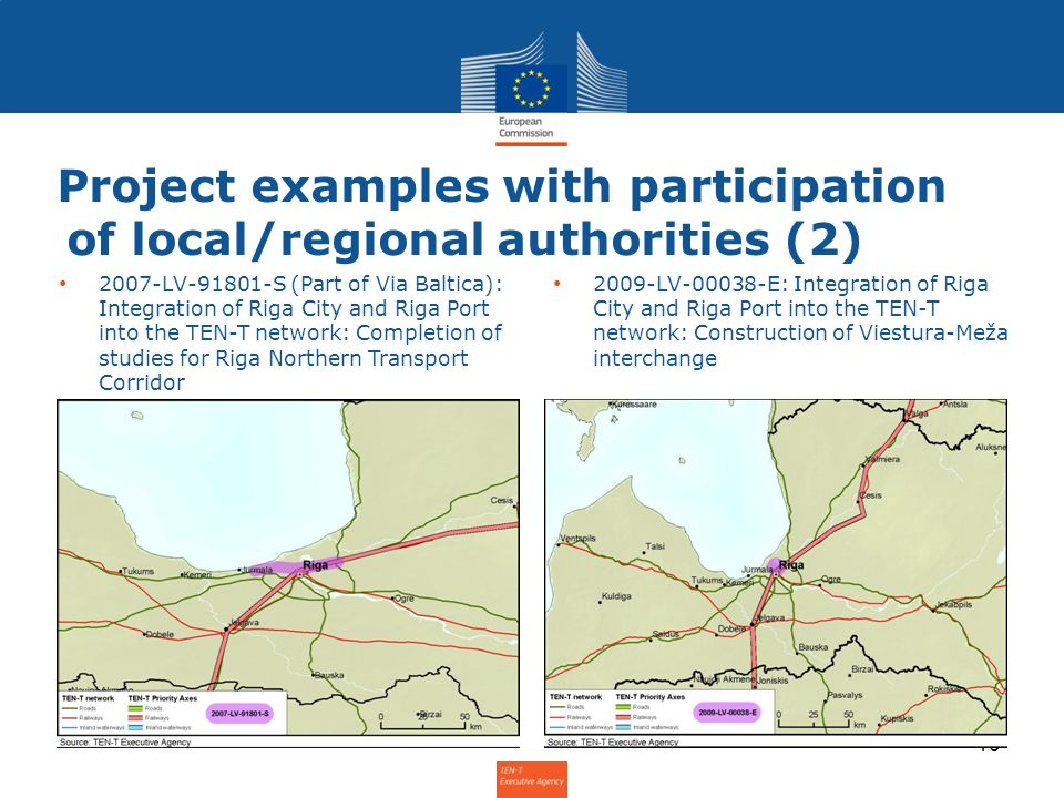Project examples with participation of local/regional authorities (2) 10 2007-LV-91801-S (Part of Via Baltica): Integration of Riga City and Riga Port
