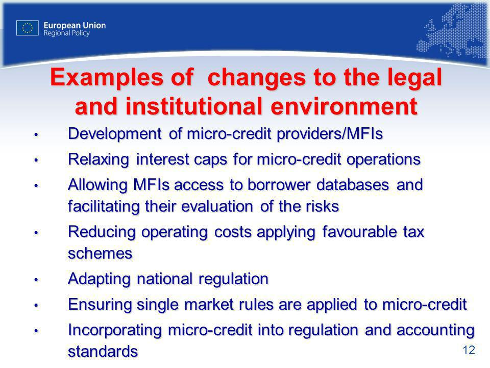 12 Examples of changes to the legal and institutional environment Development of micro-credit providers/MFIs Development of micro-credit providers/MFIs Relaxing interest caps for micro-credit operations Relaxing interest caps for micro-credit operations Allowing MFIs access to borrower databases and facilitating their evaluation of the risks Allowing MFIs access to borrower databases and facilitating their evaluation of the risks Reducing operating costs applying favourable tax schemes Reducing operating costs applying favourable tax schemes Adapting national regulation Adapting national regulation Ensuring single market rules are applied to micro-credit Ensuring single market rules are applied to micro-credit Incorporating micro-credit into regulation and accounting standards Incorporating micro-credit into regulation and accounting standards