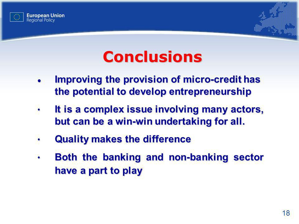 18 Improving the provision of micro-credit has the potential to develop entrepreneurship Improving the provision of micro-credit has the potential to develop entrepreneurship It is a complex issue involving many actors, but can be a win-win undertaking for all.