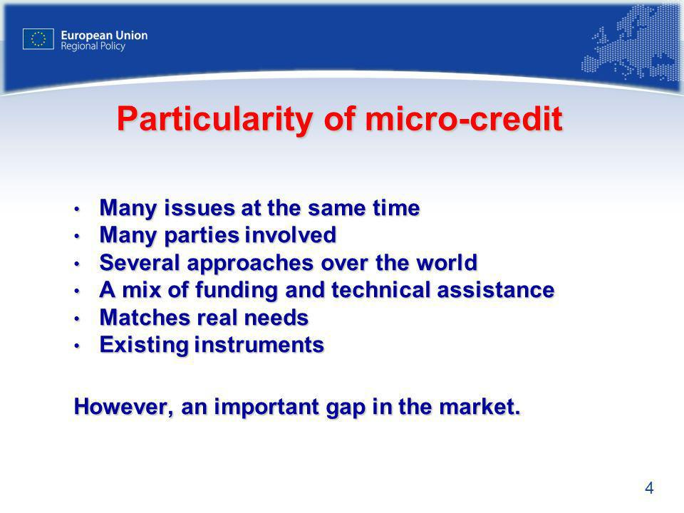4 Particularity of micro-credit Many issues at the same time Many issues at the same time Many parties involved Many parties involved Several approaches over the world Several approaches over the world A mix of funding and technical assistance A mix of funding and technical assistance Matches real needs Matches real needs Existing instruments Existing instruments However, an important gap in the market.