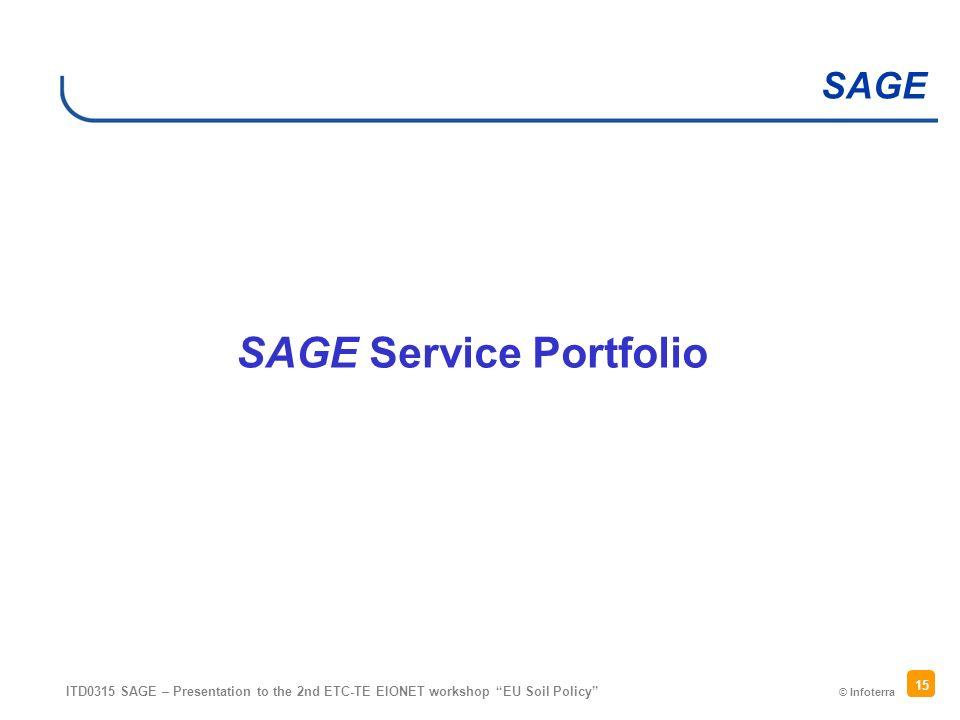 © Infoterra SAGE ITD0315 SAGE – Presentation to the 2nd ETC-TE EIONET workshop EU Soil Policy 15 SAGE Service Portfolio