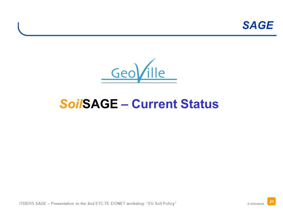 © Infoterra SAGE ITD0315 SAGE – Presentation to the 2nd ETC-TE EIONET workshop EU Soil Policy 21 SoilSAGE – Current Status