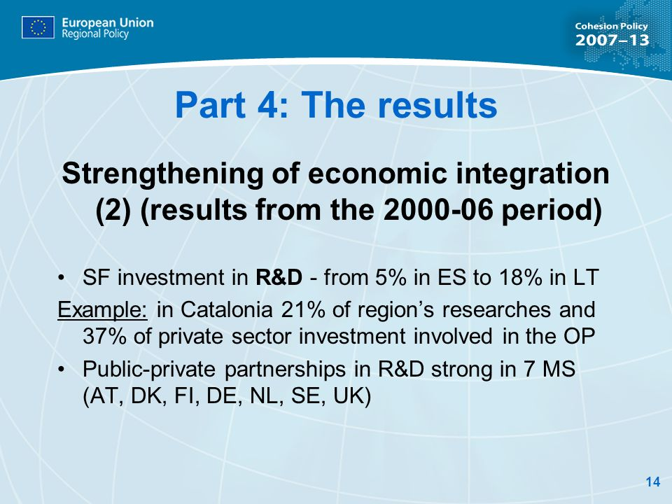 14 Part 4: The results Strengthening of economic integration (2) (results from the 2000-06 period) SF investment in R&D - from 5% in ES to 18% in LT Example: in Catalonia 21% of regions researches and 37% of private sector investment involved in the OP Public-private partnerships in R&D strong in 7 MS (AT, DK, FI, DE, NL, SE, UK)