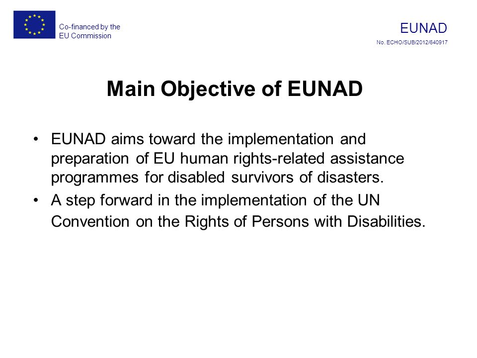 Co-financed by the EU Commission EUNAD No.