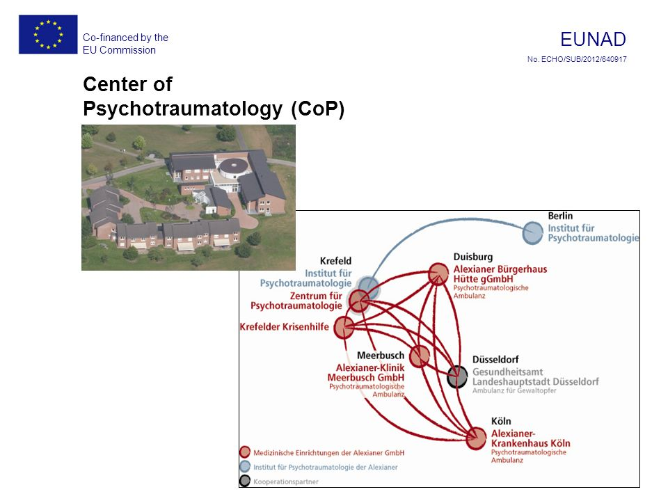 Co-financed by the EU Commission EUNAD No. ECHO/SUB/2012/ Center of Psychotraumatology (CoP)