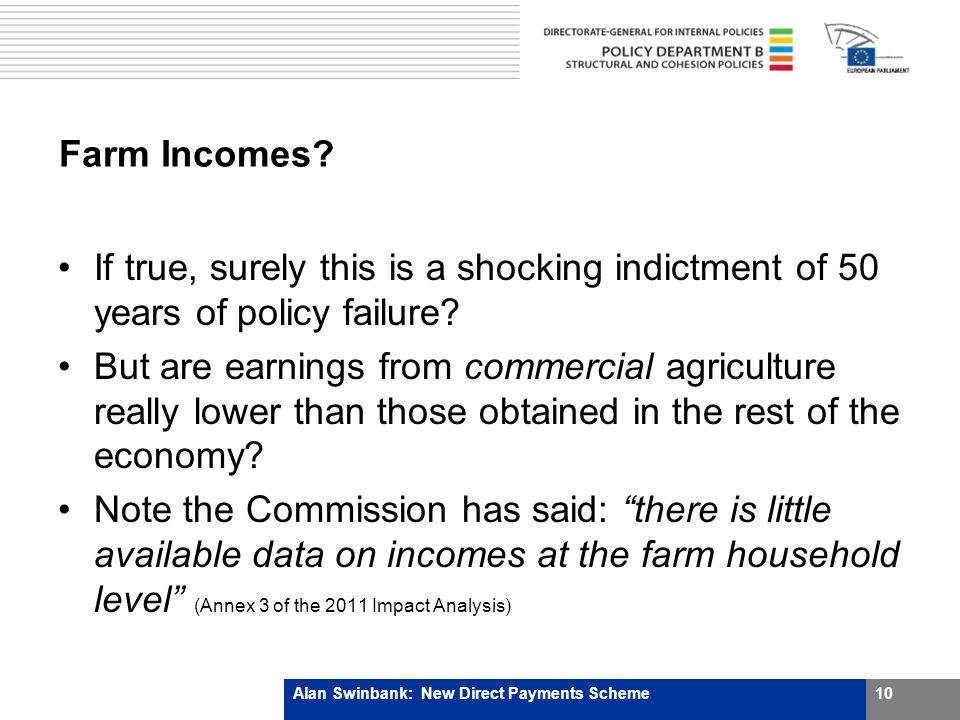 Farm Incomes. If true, surely this is a shocking indictment of 50 years of policy failure.