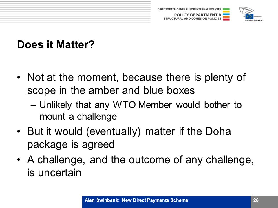 Does it Matter? Not at the moment, because there is plenty of scope in the amber and blue boxes –Unlikely that any WTO Member would bother to mount a