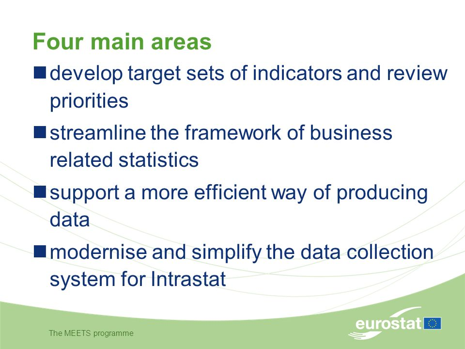 The MEETS programme Four main areas develop target sets of indicators and review priorities streamline the framework of business related statistics support a more efficient way of producing data modernise and simplify the data collection system for Intrastat