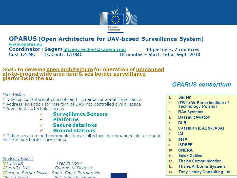 OPARUS (Open Architecture for UAV-based Surveillance System) www.oparus.eu Coordinator : Sagem olivier.reichert@sagem.com 14 partners, 7 countries Cos