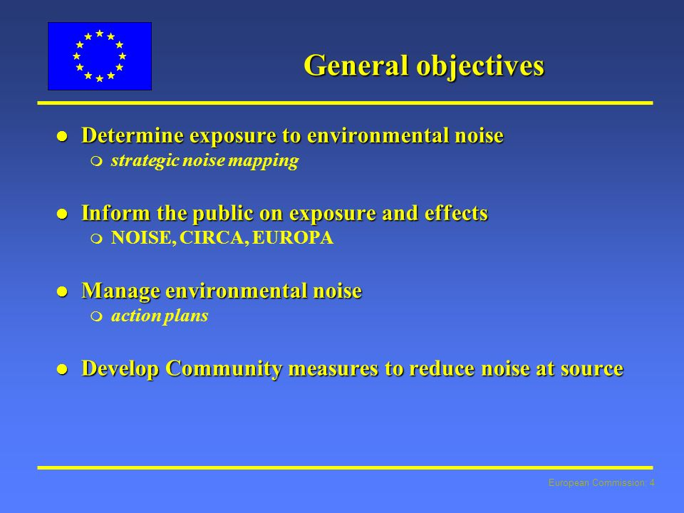 European Commission: 4 General objectives l Determine exposure to environmental noise m strategic noise mapping l Inform the public on exposure and effects m NOISE, CIRCA, EUROPA l Manage environmental noise m action plans l Develop Community measures to reduce noise at source