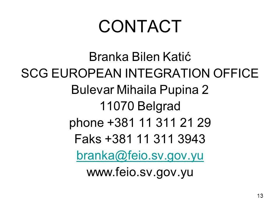 13 CONTACT Branka Bilen Katić SCG EUROPEAN INTEGRATION OFFICE Bulevar Mihaila Pupina 2 11070 Belgrad phone +381 11 311 21 29 Faks +381 11 311 3943 branka@feio.sv.gov.yu www.feio.sv.gov.yu