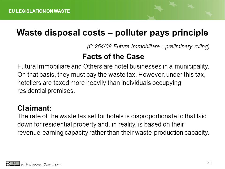 EU LEGISLATION ON WASTE 2011- European Commission 25 Waste disposal costs – polluter pays principle ( C-254/08 Futura Immobiliare - preliminary ruling) Facts of the Case Futura Immobiliare and Others are hotel businesses in a municipality.