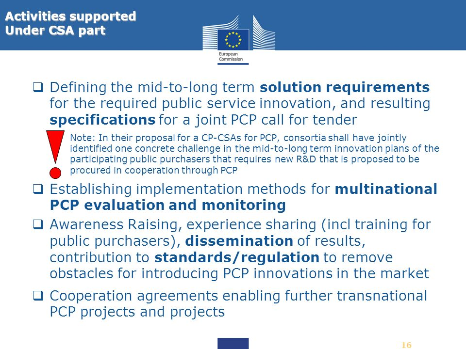 16 Defining the mid-to-long term solution requirements for the required public service innovation, and resulting specifications for a joint PCP call f