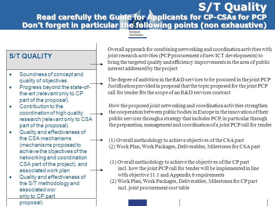 S/T Quality Read carefully the Guide for Applicants for CP-CSAs for PCP Dont forget in particular the following points (non exhaustive) S/T QUALITYIMP