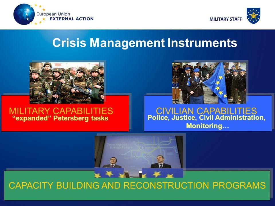 9 9 MILITARY CAPABILITIES CIVILIAN CAPABILITIES CAPACITY BUILDING AND RECONSTRUCTION PROGRAMS expanded Petersberg tasks Police, Justice, Civil Adminis