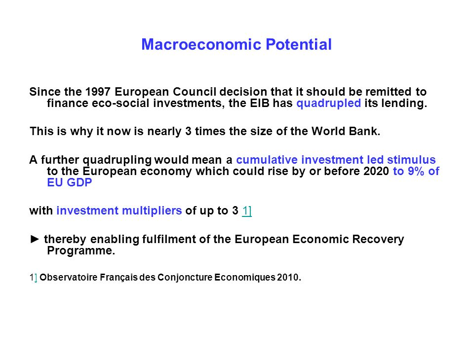 Macroeconomic Potential Since the 1997 European Council decision that it should be remitted to finance eco-social investments, the EIB has quadrupled its lending.